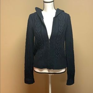 Full-Zip Navy Knit Cardigan with Hood - XL